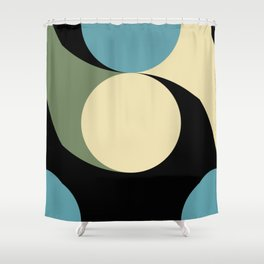 Two comets, one blue with a white tail, the other's white with a green tail. Shower Curtain