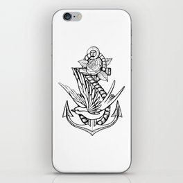 Anchor Swallow & Rose Old School Tattoo Style iPhone Skin