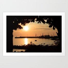 Little harbor in golden sunset Art Print