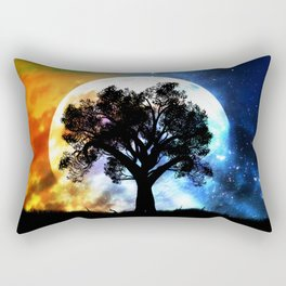 Glowing planet over starry sky and big tree Rectangular Pillow