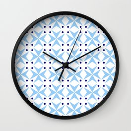 star and polka dot 4 - blue Wall Clock