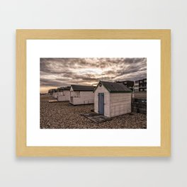 Beach Huts At Sunset Framed Art Print