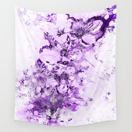 Abstract Cherry Blossom Plaster in Violet Wall Tapestry
