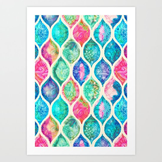 Watercolor Ogee Patchwork Pattern Art Print