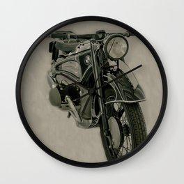 BM army green bike vintage look Wall Clock