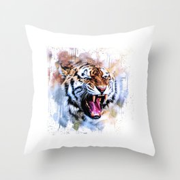 Snarling Wild Tiger with Paint Drips Throw Pillow
