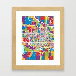 Lawrence Kansas City Map Framed Art Print