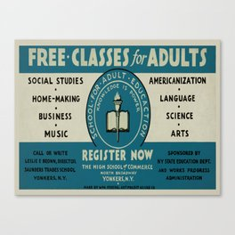 Vintage poster - Adult Education Canvas Print