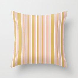 Splendid Stripes - Retro Modern Stripe Pattern in Gold, Pink, White, and Mushroom Throw Pillow
