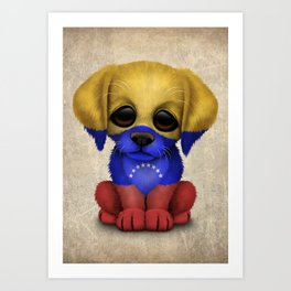 Cute Puppy Dog with flag of Venezuela Art Print