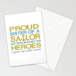 Proud sister of a sailor Stationery Cards
