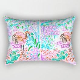 Asian Bamboo Garden in Cherry Blossom Watercolor Rectangular Pillow