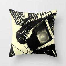 Shockin' White Light Guitar Throw Pillow