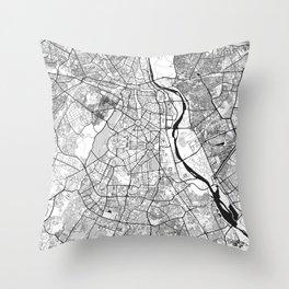 New Delhi Map Gray Throw Pillow