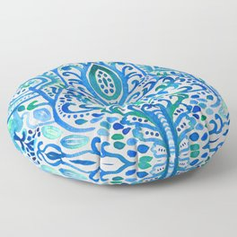 Sapphire and Emerald Watercolor Tulip Damask Floor Pillow