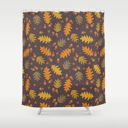 Oak Leaves dark Shower Curtain