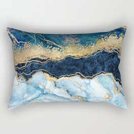 Abstract blue marble texture, gold foil and glitter decor, painted artificial indigo marbled surface, fashion marbling illustration Rectangular Pillow