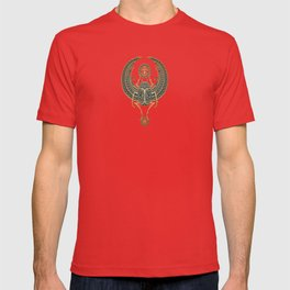 Golden Blue Winged Egyptian Scarab Beetle with Ankh T-shirt