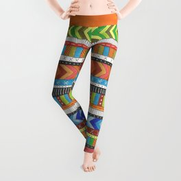 brightly colored patterned stripes Leggings