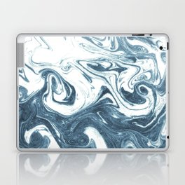 Marble swirl suminagashi minimal ocean waves watercolor ink marbled japanese art Laptop & iPad Skin