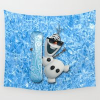 olaf Wall Tapestries featuring SNOW MAN OLAF by BeautyArtGalery