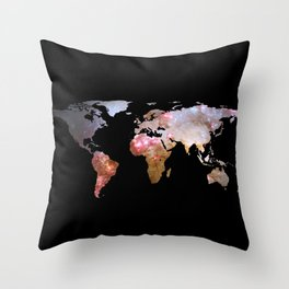World Map Silhouette - Galaxy Throw Pillow