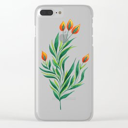 Abstract Green Plant With Orange Buds Clear iPhone Case