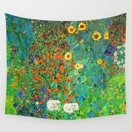 Gustav Klimt Garden with Sunflowers Wall Tapestry