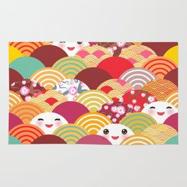Kawaii Nature background with japanese sakura flower, wave pattern Rug