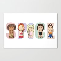 spice girls Canvas Prints featuring Spice Girls by Big Purple Glasses