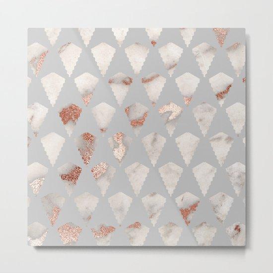Rose gold marble pattern Metal Print