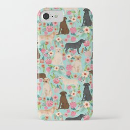 Labrador Retriever dog breed floral pattern for dog lover chocolate lab golden retriever labradors iPhone Case