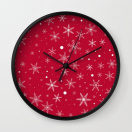Twinkle Snowflake 4 -Jester Red & White- Wall Clock