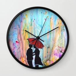 A Rainy Date romantic painting giftart Wall Clock