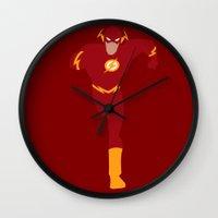 flash Wall Clocks featuring Flash by karla estrada