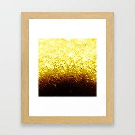 Golden Yellow Ombre Crystals Framed Art Print
