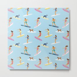 surfers watercolor pattern Metal Print