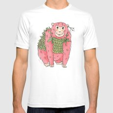 Peachtree The Chimp in Red Mens Fitted Tee White MEDIUM