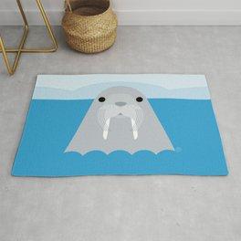 Walrus, sea animal, minimal & geometric Rug