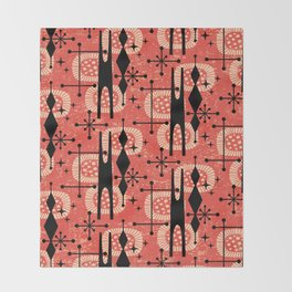 Retro Atomic Mid Century Pattern 771 Red Throw Blanket