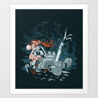 cyberpunk Art Prints featuring Cyberpunk Beat Down by Dooomcat