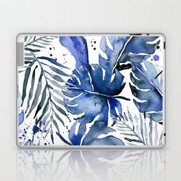 Tropical plants in indigo blue Laptop & iPad Skin