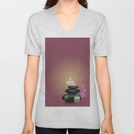 Pebbles with orchid Unisex V-Neck