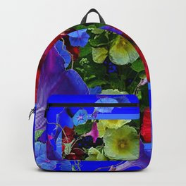 HOLLYHOCKS & MORNING GLORIES COTTAGE BLUE ART Backpack