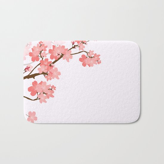 Blooming cherry tree Bath Mat