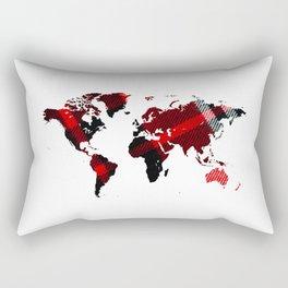Fiber Art Tartan World Map Rectangular Pillow