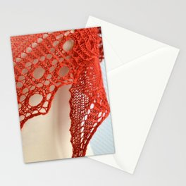 Red knitting with circle lace detail Stationery Cards