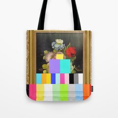 A Painting of Flowers With Color Bars Tote Bag