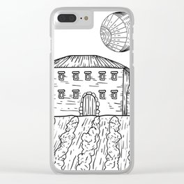 Italian Vintage Night - Countryside Landscape Black White Clear iPhone Case