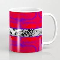 denmark Mugs featuring circuit board Flag (Denmark) by seb mcnulty